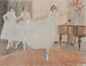 Raphaël Drouart French Watercolor Drawing Painting Women Dancers Art Deco Dance