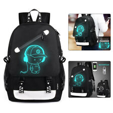 Luminous Anti Theft Backpack Unisex Travel Laptop Rucksack School Bag USB Port