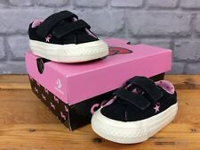 CONVERSE  UK 2 EU 18 ALL STAR HELLO KITTY BLACK SUEDE TRAINERS GIRLS CHILDRENS
