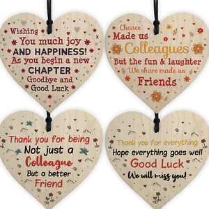 Colleague Leaving Gifts Wooden Heart Plaques Thank You Friendship Work Gifts