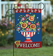 Toland American Welcome 12.5 x 18 Colorful Patriotic Us Double Sided Garden Flag