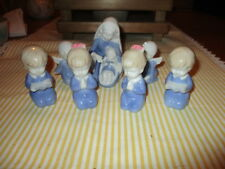 Vintage 7 piece Porcelain Mary and Jesus and Children Figurine set Japan