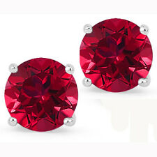 @@ Wholesale 925 Sterling Silver 1.50ct Created Ruby Round Stud Earrings