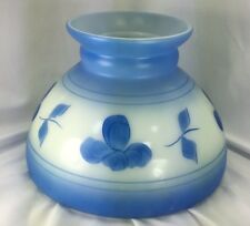 """Blue Flowered Milk Glass Oil/Electric Lamp Shade Vintage 6"""" Tall Replacement"""