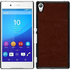 Hardcase Sony Xperia Z3+ / Plus leather optics brown Cover + protective foils