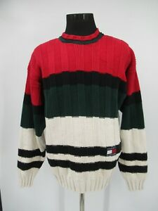 P1635 VTG Tommy Hilfiger Striped Knitted Pullover Sweater Size L