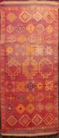 Antique Authentic Moroccan Oriental Runner Rug Vegetable Dye Hand-knotted 6'x13'