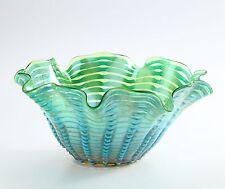 "New 14"" Hand Blown Glass Art Vase Bowl Blue Green Handkerchief Ruffle Decorative"