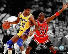 "MICHAEL JORDAN vs MAGIC JOHNSON ""Spotlight"" Chicago Bulls/LA Lakers 8x10 photo"