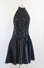 Vtg 80s Black Sequin Lace Halter Party Prom Dress Size 8 Retro Costume  *READ