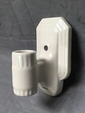 Vtg Ceramic White Porcelain Bath Wall Sconce Old Art Deco Light Fixture 282-17E
