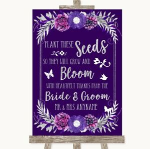 Wedding Sign Poster Print Purple & Silver Plant Seeds Favours