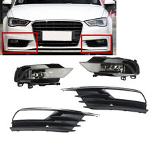 Front Bumper Fog light Lamp+Grille Cover Trim Grill Set For AUDI A3 Sedan 15-16