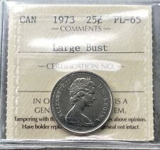 1973 Large Bust 25 Cent Canada Twenty Five Cents Coin - ICCS PL 65 - Old Grade!