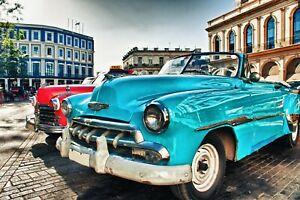 8.5 X 11 Inch Metallic Luster Photo W. Frame HD Wall Art Classic Cars Cuba Auto
