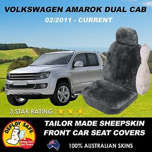Tailored Sheepskin Car Seat Covers VOLKSWAGON AMAROK charcoal Airbag Safe!