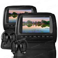 "XTRONS 2x 9"" Kopfstütze DVD Player LCD Digital Screen USB AUX-IN +2 Kopfhörer"