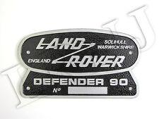 Land Rover Defender 90 Solihull Warwickshire Inghilterra Originale Stemma Targa