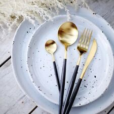 MID CENTURY BLACK GOLD CUTLERY SET /FLATWARE BRIDAL DINING TABLE DECOR