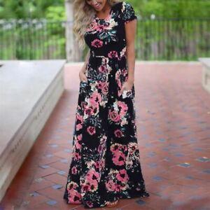Women Long Maxi Dress Summer Floral Print Boho Beach Dress Short Sleeve Evening