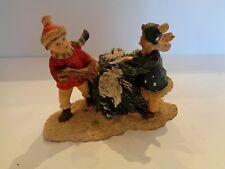 "Winter Christmas Village Figure Boy & Girl W/ Tree 2 3/4"" Tall"