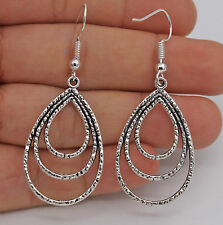 Women's Fashion Jewelry Vintage 925 Silver Plated 3 Hoop Hook Earrings 29-4