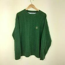 Mens Tommy Hilfiger Green Vintage Cable Knit Knitted Jumper Sweater Size XL