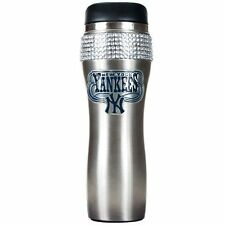 MLB New York Yankees Travel Mug Tumbler Black Spill Free Cup Rhinestones 16 oz