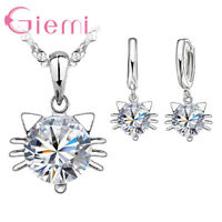 925 Sterling Silver Clear Cubic Zirconia Cat Necklace Pendant and Earring Set UK