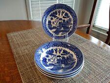 """Set of 4 Vintage Japan Porcelain Blue Willow Bowls, Japanese Village, Vgc, 5.5"""""""