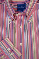 Faconnable Men's Pink Blue Gold Stripe Cotton Casual Shirt L Large