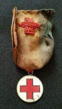 Ancienne Médaille Croix Rouge émaillée ruban tricolore XIXe Red Cross Medal