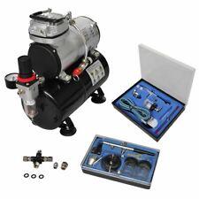 vidaXL Compressore Aerografo 2 Pistole Filtro Manometro Fusibili Kit Airbrush