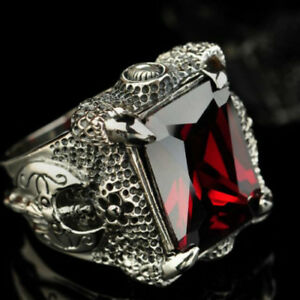 Vintage 925 Sterling Silver Ring Dragon's Claw Garnet Agate Men's Size 8 to 12