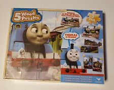 Thomas Train & Friends 5 Wood Puzzles Storage Box Educational Learn Puzzle New
