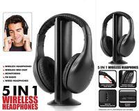Adjustable Headband 5 in 1 Wireless Headphone Earphone Headset Stereo FM Radio