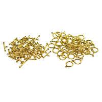 50x fermoirs à bascule dorés de style antique, cercle rond et connecteurs de