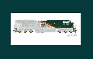 """Union Pacific WP Heritage SD70ACe 1983 11""""x17"""" Matted Print Andy Fletcher signed"""