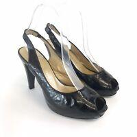 RUSSELL BROMLEY UK4 Black Patent Leather Slingback Peep Toe Slip On Heels Shoes