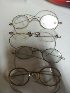 Lot of 4 pairs Antique Wire Rim/rimless Glasses see pictures. Round oval bifocal