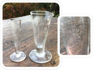 Pair Of Vintage Laboratory Glass Small Conical Measuring Vessels