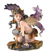 """Leaf Fairy With Crystal Ball Figurine 4.25"""" High Resin New In Box"""