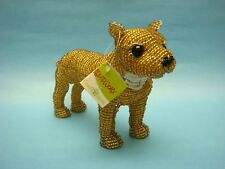 Beadworx Dog Pit Bull American Stafford Terrier Sculpture Glass Bead Wire Beaded