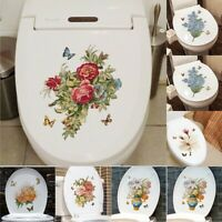 Flower Vinyl Toilet Bathroom Lid Seat Wall Stickers Decals Decoration Adhesive