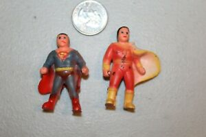 SUPERMAN &  SHAZAM 1970s DC COMICS SUPER HERO FIGURES CAKE or PENCIL TOPPERS HTF