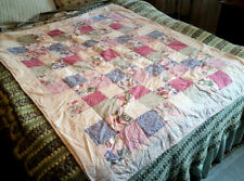 """Hand Made Crib Size Quilt 55"""" x 45"""" Square Pattern Subtle 'Knights Move' Offset"""