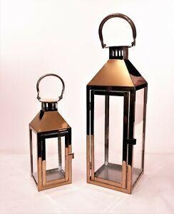 copper Lanterns steel set 2 INDOOR/OUTDOOR weddings gift idea