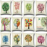 Vintage Tree Linen Cotton Cushion Cover Throw Pillow Case Sofa Home Decor Square