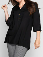 Sheego ladies blouse shirt top plus size 14 20 24 26 black brass buttons pockets