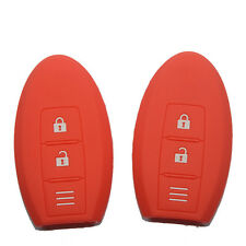 2x Red Silicon key fob cover for Nissan Micra Murano Juke Alissa Pulsar xtrail